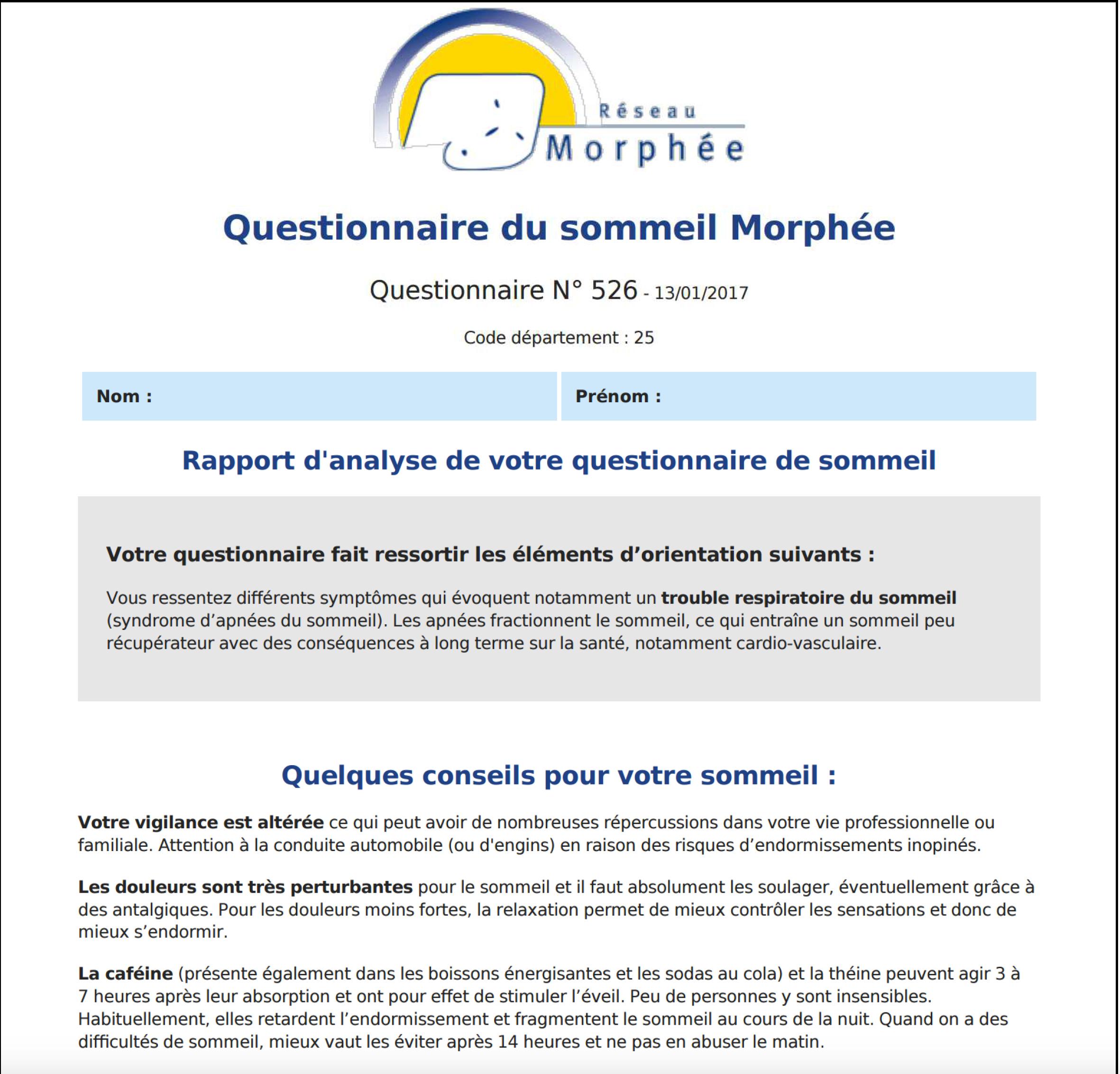 découvrez le questionnaire du sommeil du Réseau Morphée